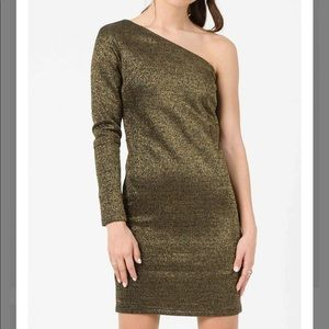 Lucca Couture One Shoulder Gold Dress Small NWT